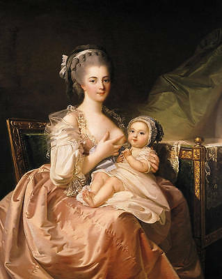 Art Oil painting young noble lady feeding her baby breastfeeding Hand painted