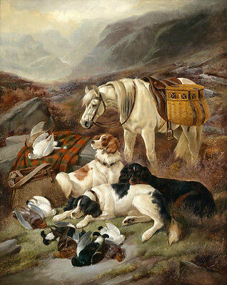 Wholesale oil painting white horse with Hound dogs Prey - dead birds Pigeons
