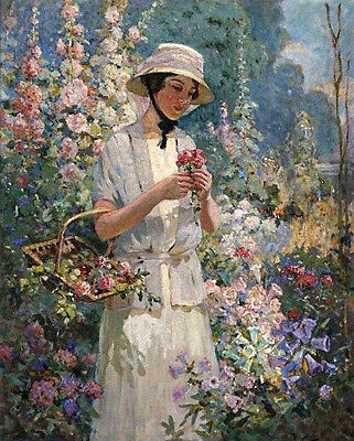 Oil painting young woman wearing straw hat Collection of flowers Hand painted