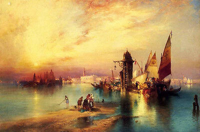 Hand painted Oil painting Thomas Moran - Venice sail boats on canal cityscape