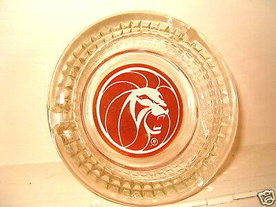 Ashtray Glass 4.5in MGM Grand Las Vegas Casino Older Lion Red Logo Pictorial