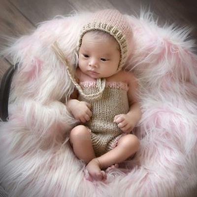 Newborn Baby Infant Girl Crochet Knitted Costume Hat+Pants Photography Prop Set