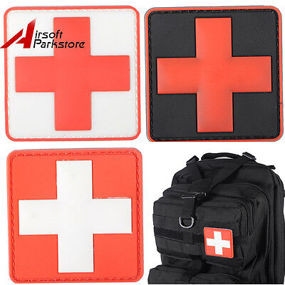 Outdoor Paramedic Medic First Aid Square PVC Cross Patch w/ Hook Back 3 colors