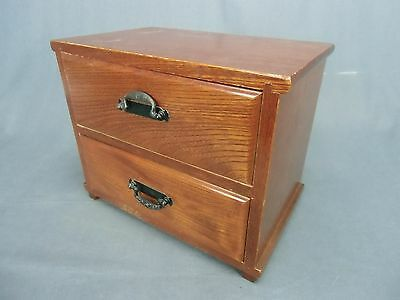 T56 Japanese Haribako Chest 2 Drawer Metal parts Wood grain Cabinet Vtg Tansu