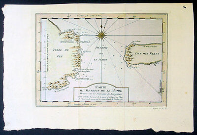 1753 Bellin Antique Map Straits of Le Maire Sth America