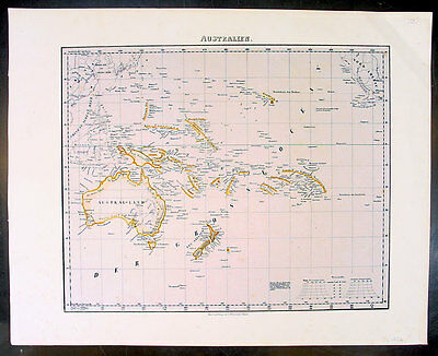 1850 Flemming Antique Map of Australia & The Pacific