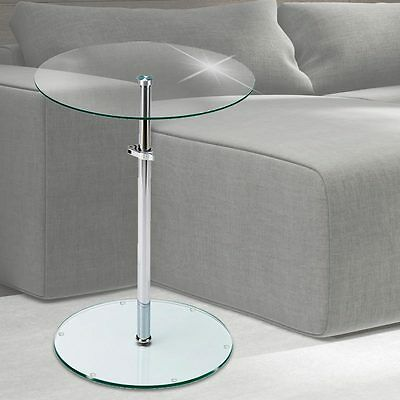 Side Table Living Room Storage Area Chrome Clear Glass Plate adjustable height