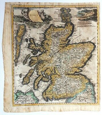 1742 Genuine Antique SCOTLAND MAP Scozia by Albrizzi HAND COLOURED Edinburgh