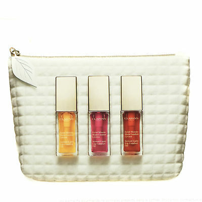 Clarins Lip Oil Gift Set 3 Instant Light Comfort Honey Raspberry Berry 7ml each