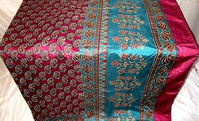USED BUT WEARABLE ART SILK Vintage Sari Saree 7f45 Wine Skyblue 5 yds #ABW5E