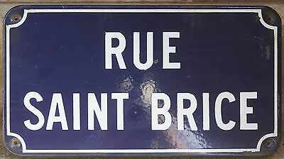 Old French enamel street sign road plaque name rue Saint Brice district Chartres