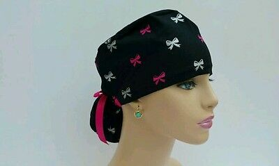 Ponytail Scrub Hat - Holyday-Bows - Handmade, Medical, Multi-Color, One Size,