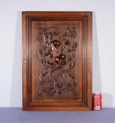 *Large French Antique Louis XVI Architectural Panel Door Solid Walnut Wood