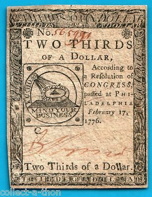 """MEGA RARE UNCIRC 1776 US 2/3 DOLLAR """"Mind Your Business"""" Sundial/13 Joined Rings"""