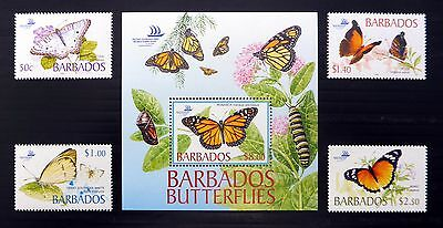 BARBADOS 2005 Butterflies Set & M/Sheet U/M NB333