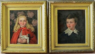 Rare Pair (2) Antique 19th Century Portrait Oil on Canvas Painting EMMS