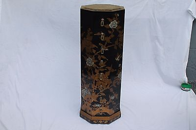 """Stunning Mid Century Asian """"chinoiserie"""" Artist Painted Tall Jewelry Chest"""