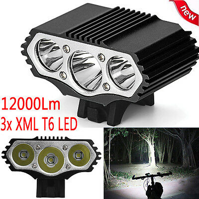 12000Lm 3 x XML T6 LED Bike Bicycle Head Lamp Light Headlight Cycling Torch UK