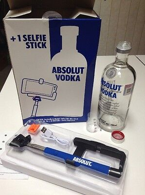 Absolut Vodka Limited Edition Empty Bottle Selfie Stick Double Cap Imported