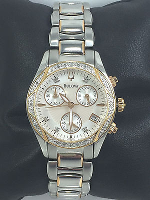 Women's Bulova 98R149 Anabar Two Tone Stainless Chronograph Diamond Accent Watch