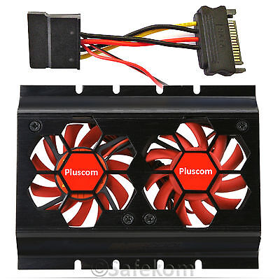 "3.5"" Hard Disk Drive HDD Dual Cooler Cooling Fan Panel With SATA Connector Black"