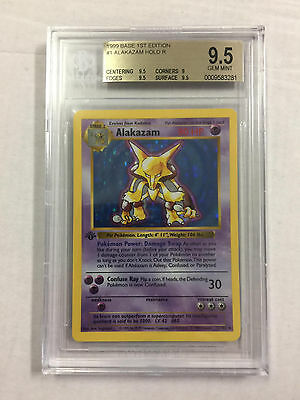 ALAKAZAM 1/102  pokemon base set 1st EDITION SHADOWLESS BGS 9.5 GEM MINT