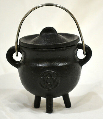 Pentacle Incense Cauldron Black Cast Iron Smudging-Charcoal-Resin-incense Cones