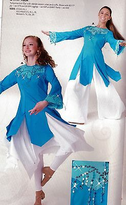NWT Praise top Turquoise Sequin dangles LongSleeve Sisterly Grace