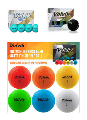 VOLVIK VIVID 2017 MATTE FINISH 3 PIECE GOLF BALLS choice of SLEEVE / DOZEN