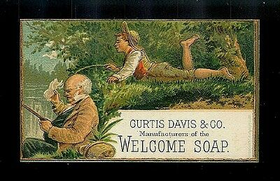 Teasing Grandpa At The Fishing Hole-1880s Victorian Trade Card