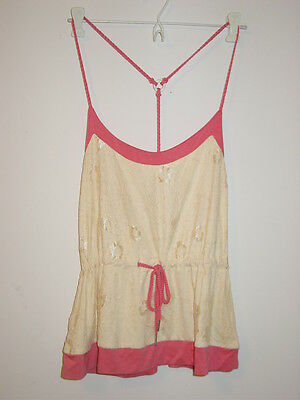 Steve Madden cream lace overlay front pink cami sleep top racerback-M-NWT-$42.