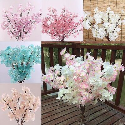 Wedding Fake Flower Artificial Bouquet Cherry Blossom Floral Home Party Decor