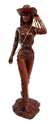 "Western Wild Wild West Cowboy Spur Rodeo Cowgirl With Lasso Figurine Decor 9""H"