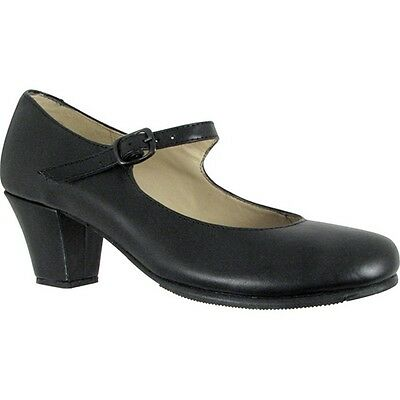 Black Leather Upper Covered Wooden Heel Folklorical Shoes 11 Womens