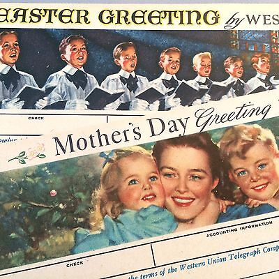 2 Original NOS Vintage WESTERN UNION Telegram Greetings Mother's Day & Easter