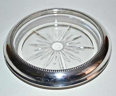 Vtg Frank M Whiting Sterling Silver 925 Glass Wine Bottle Coaster Minimalist #07