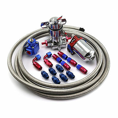 Electric Fuel Pump Regulator Filter Braided Line and Fittings Kit -8an
