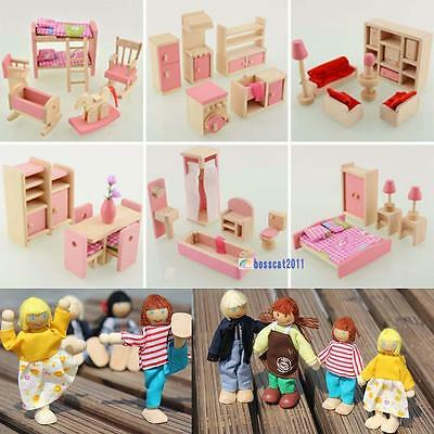 Wooden Dolls House Furniture Miniature 6 Room For Kids Children Toy Gifts Hot^BA
