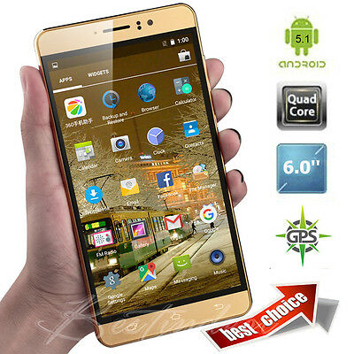 """Luxury 6"""" Touch Quad Core Android 1+8GB Mobile Phone 2SIM 3G Smartphone Unlocked"""