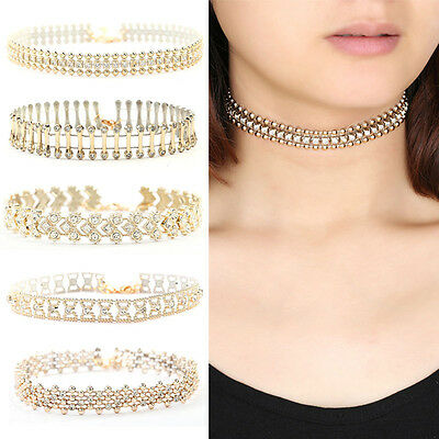 Women Fashion Gold Choker Collar Beads Crystal Pendant Chain Necklace Jewelry