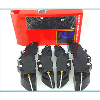 4Pcs 3D Style Front And Rear Universal Plate Black Car Brake Caliper Cover
