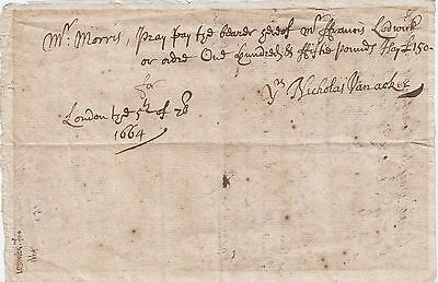 Clayton & Morris Cheque, 1664, drawn by Nicholas Vanacker, £150