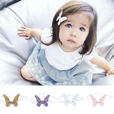 Cute Baby Girls Kids Toddler Sequined Butterfly Headband Faux Leather Hairband