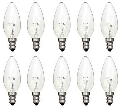 10x Clear Candle 40W E14 Small Edison Screw Candle Light Bulbs SES Dimmable