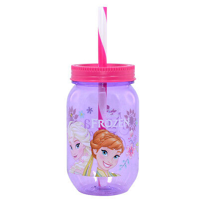 3 X Disney Frozen Kids Drinking Jar Cup Canning With Lid Straw Tumbler Girls