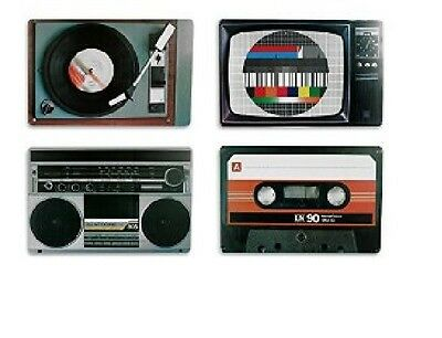 Placemats/Place Mats ~ Set of 4 ~ Nostalgic/Retro~Radio/TV/Cassette/Record Deck