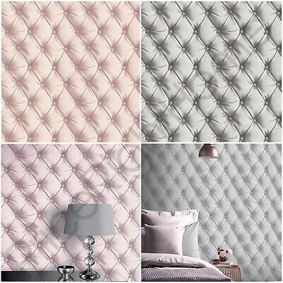 Arthouse Desire Chesterfield Leather Effect Wallpaper Metallic - Blush, Silver