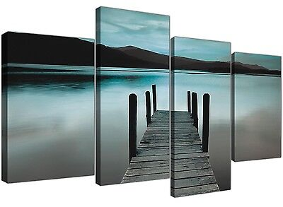Brown Large Canvas Wall Art of Jetty Lake Landscape 1117
