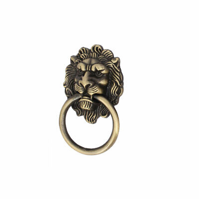 Home Furniture Chest Lion Shape Metal Pull Handle Ring Bronze Tone