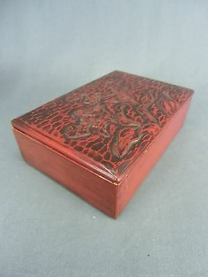 LW464 Japanese Lacquer Box Wood Lunch Box Kamakura bori Hand made Bento